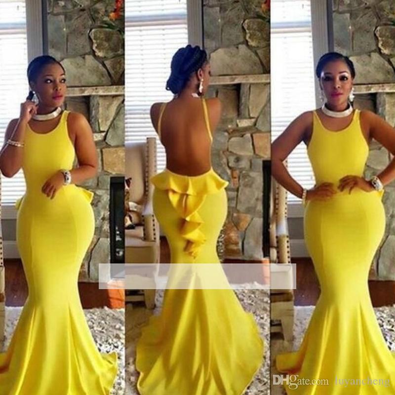 Sexy Colher Pescoço Sereia Backless Vestidos de Baile 2019 Glamorous Cetim Amarelo Plus Size Vestido de Festa À Noite Venda Quente Vestidos de Baile Custom Made