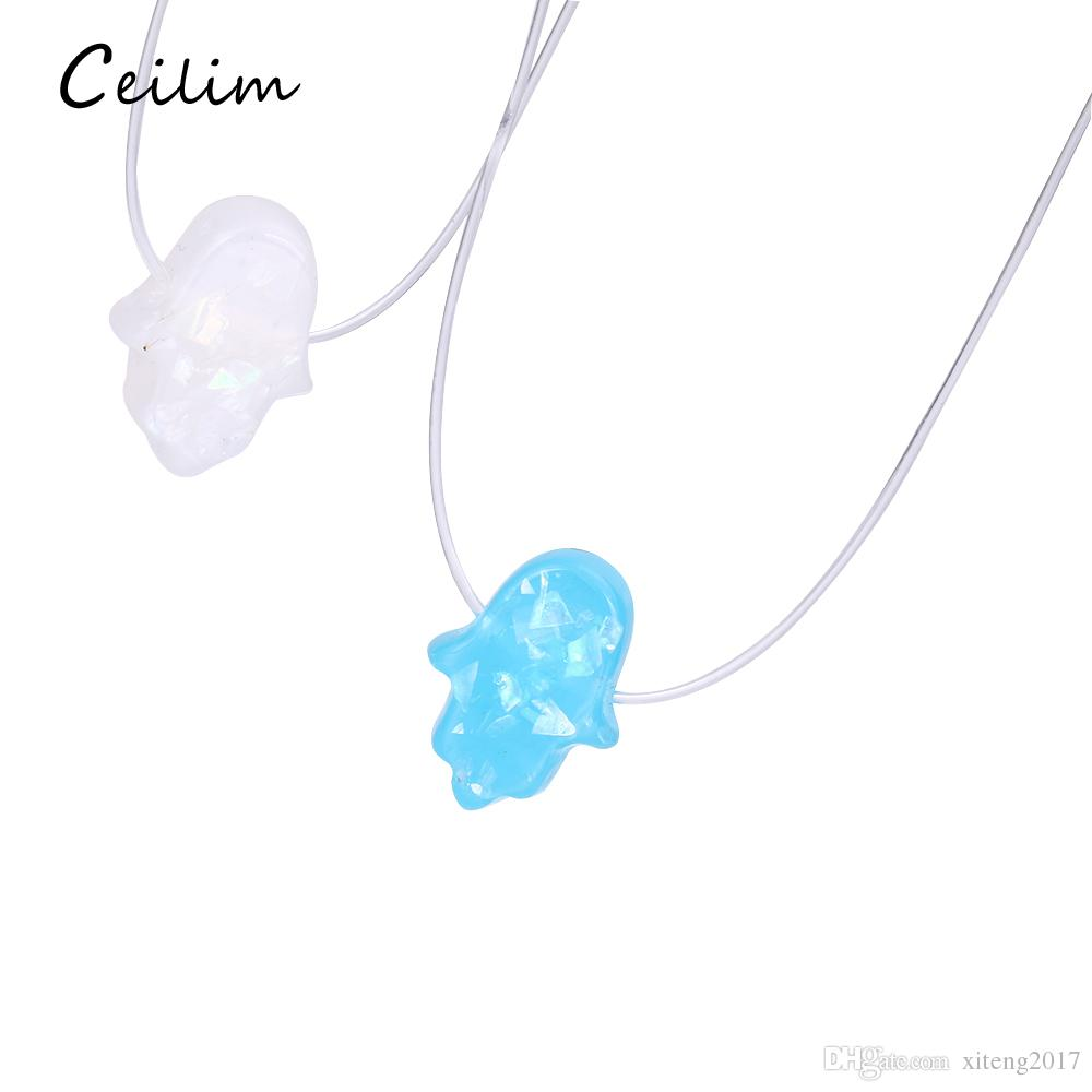 64c657f35 Wholesale Blue White Opal Hamsa Necklace Hand Fatima Pendant Necklace  Transparent Chain Choker Women Jewelry Collier 2018 Fashion Popular Pendant  Necklaces ...