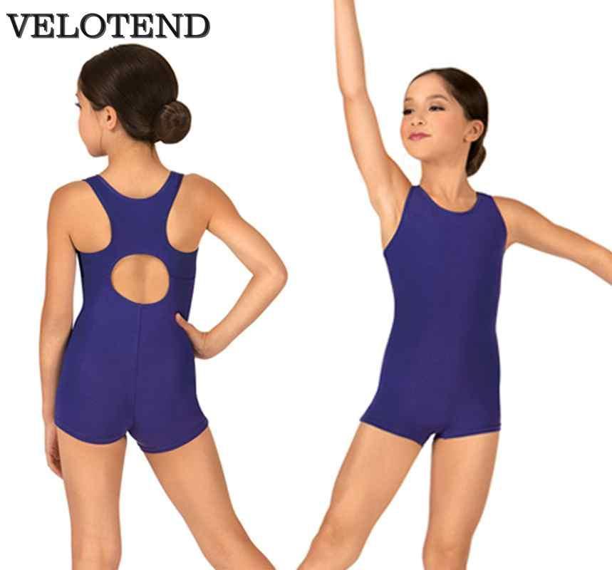 678b3ea41 VELOTEND Girls Spandex Racerback Tank Shorty Unitard Dancewear for ...