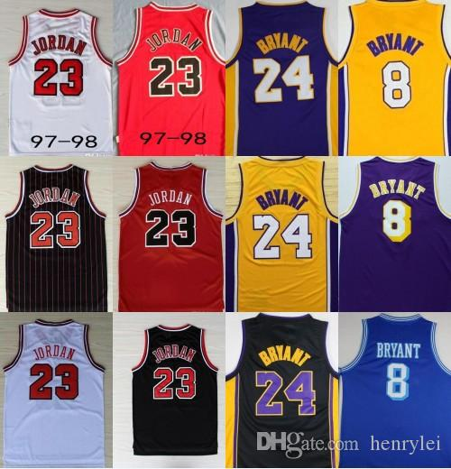 e3e7a8078 23 Retro Basketball Jerseys All Star Breathable Jersey 23 Michael 1997-98  24 Kobe Bryant Rookie No.8 Retro Stitched Basketball Shirt Basketball  Jerseys 23 ...