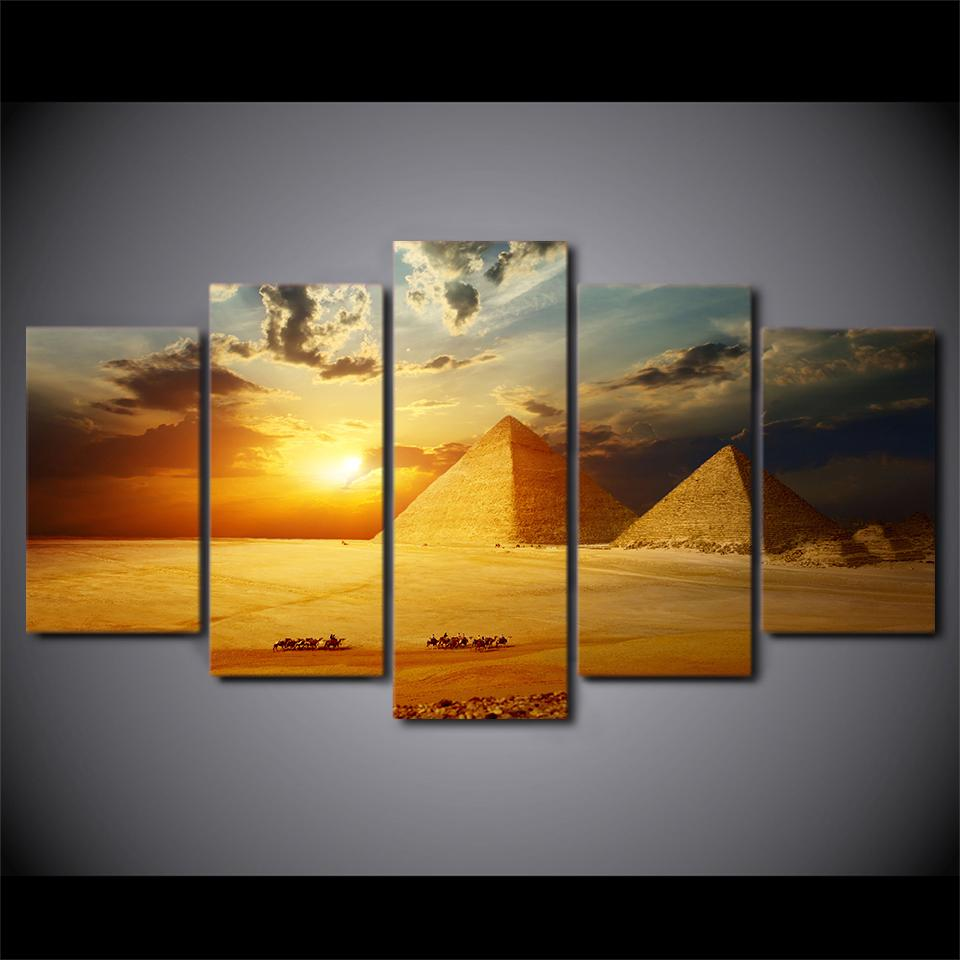 2018 Canvas Painting Wall Artwork 5 Panel The Pyramid Landscape ...