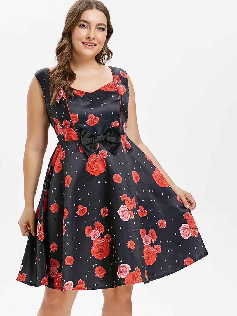 ee26b316d0c 2019 Wipalo Plus Size 5XL Sleeveless Rose Print Bowknot Vintage Dress  Sweetheart Neck Knee Length A Line Retro Dress Female Vestidos From Cute08