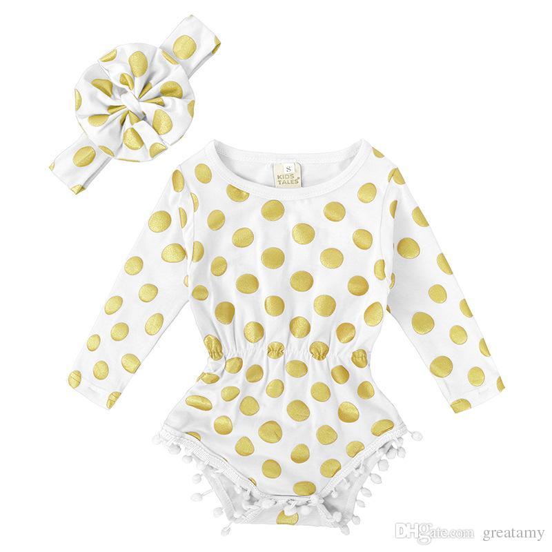 Puntini di sfera di cotone all'ingrosso bronzando i pagliaccetti di un pezzo del bambino a maniche lunghe con i vestiti infantili della tuta del bambino infantile della fascia