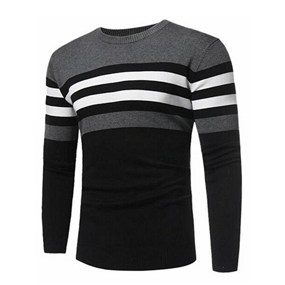 70e95dd8e 2019 New Fashion Mens Crewneck Long Sleeve Stripe Color Block Knit Sweater  Pullovers From Goldenharvest