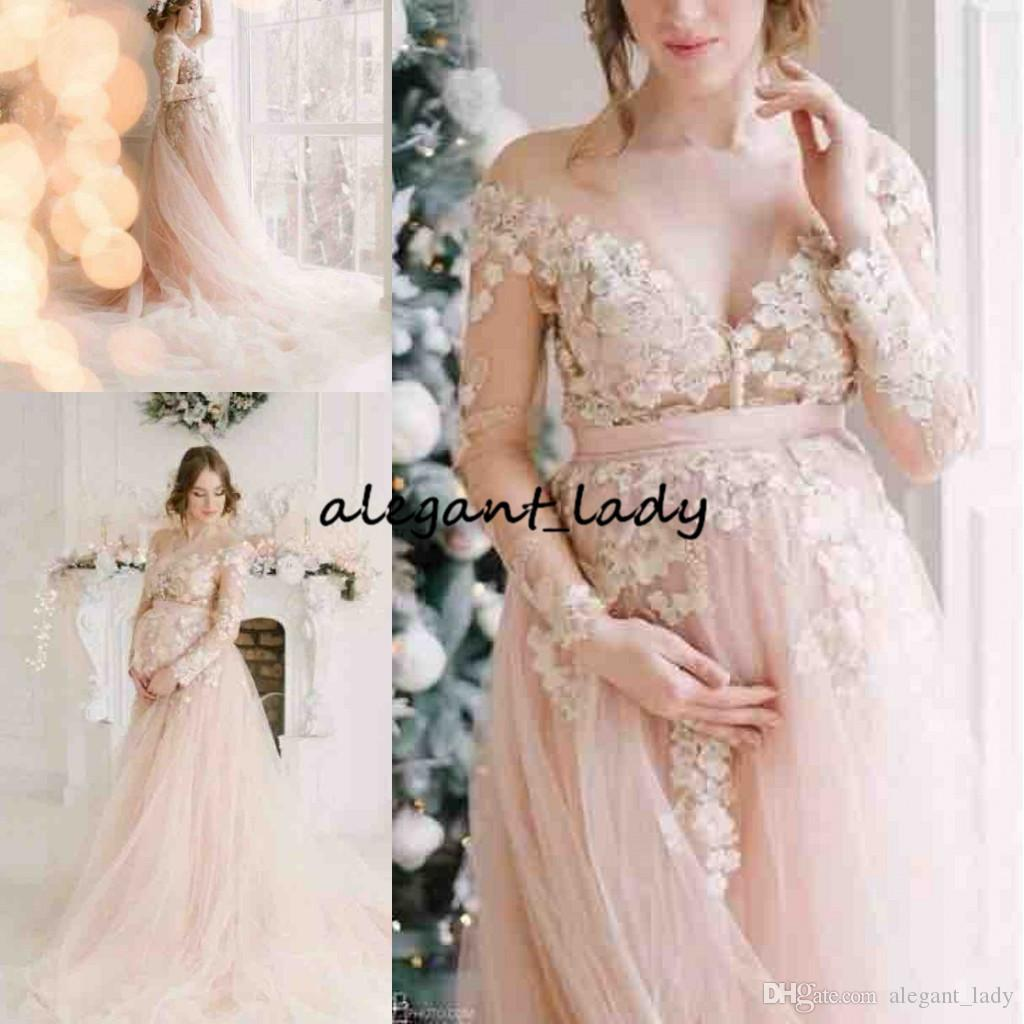 86453baa527 Blush Pink Long Sleeve Prom Dresses 2019 Modest 3D Floral Lace Fairy Tulle  Full Length Maternity Women Occasion Evneing Party Gown 1950s Prom Dresses  1980 ...