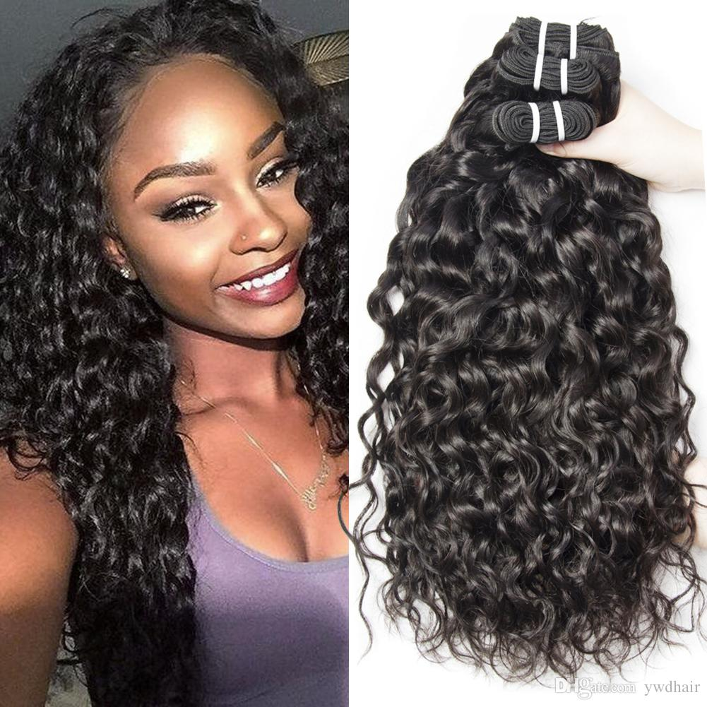 Wholesale Peruvian Water Wave Hair Curly Human Hair Extensions For