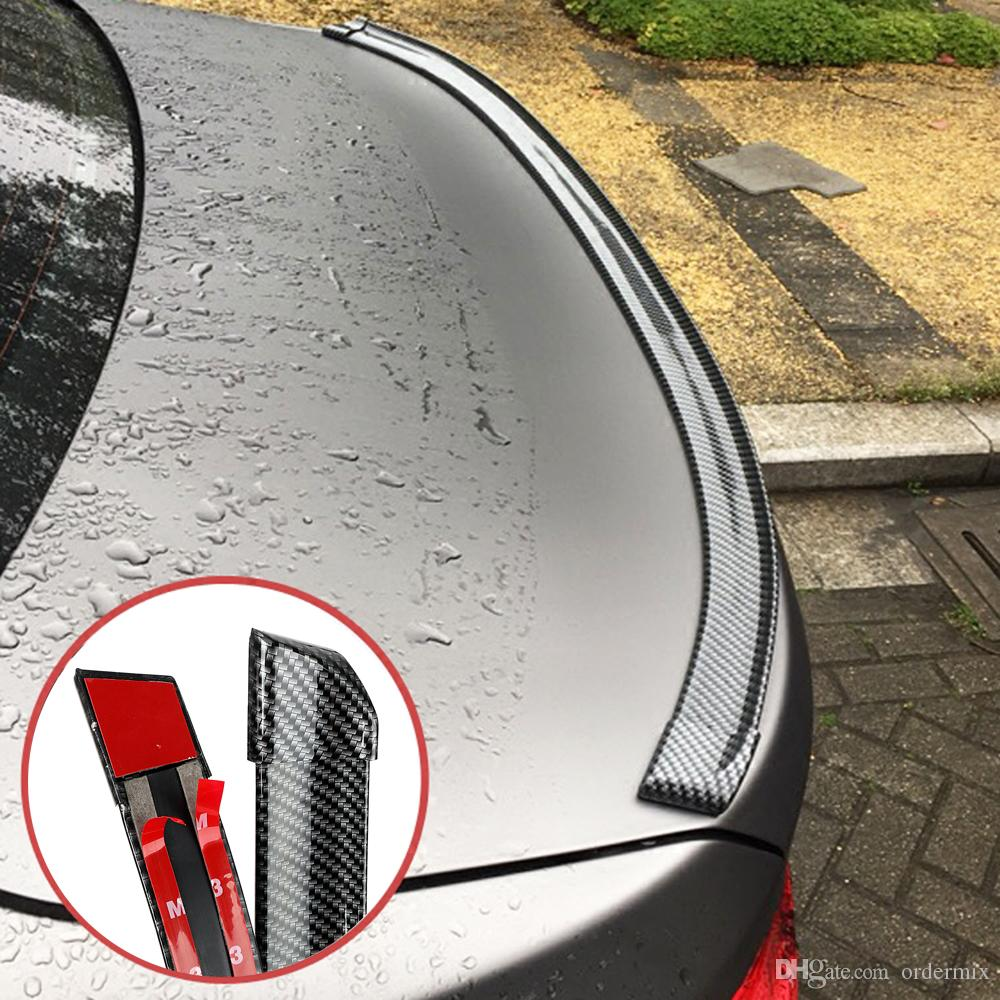 Carbon Fiber Soft Rubber Sticker Auto Trunk Spoiler 5ft Car Rear Roof Wing Lip Universal Bright Self Adhesive Trim Car-styling