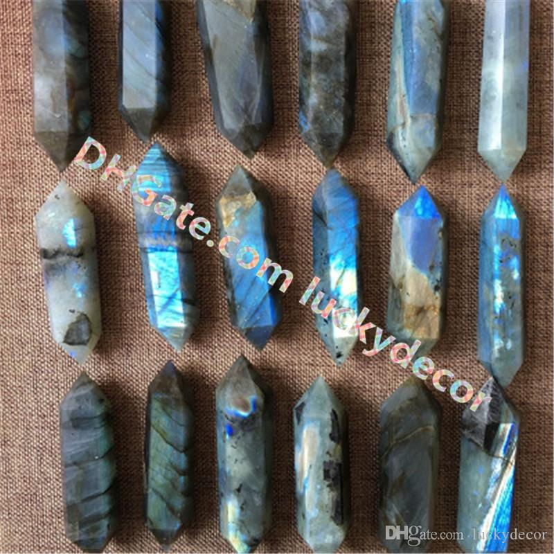 Polished Labradorite Double Terminated Healing Wand Point Faceted Natural Labradorite Crystal Flash Magical Mineral Reiki Metaphysical Stone