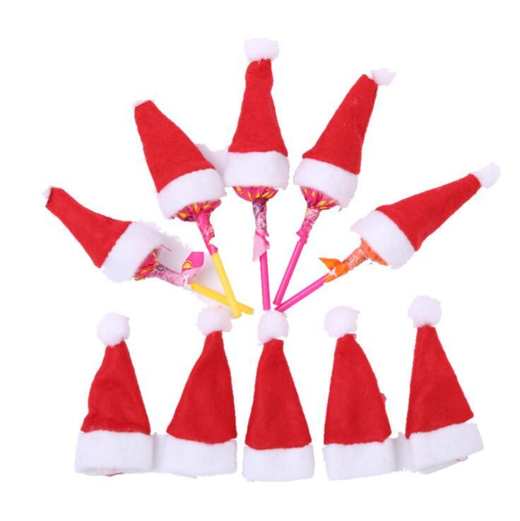 mini christmas santa claus hat lollipop hat wedding candy gift caps christmas tree decor w4h7cm christmas ornament decor kka6021 wholesale christmas - Lollipop Christmas Decorations