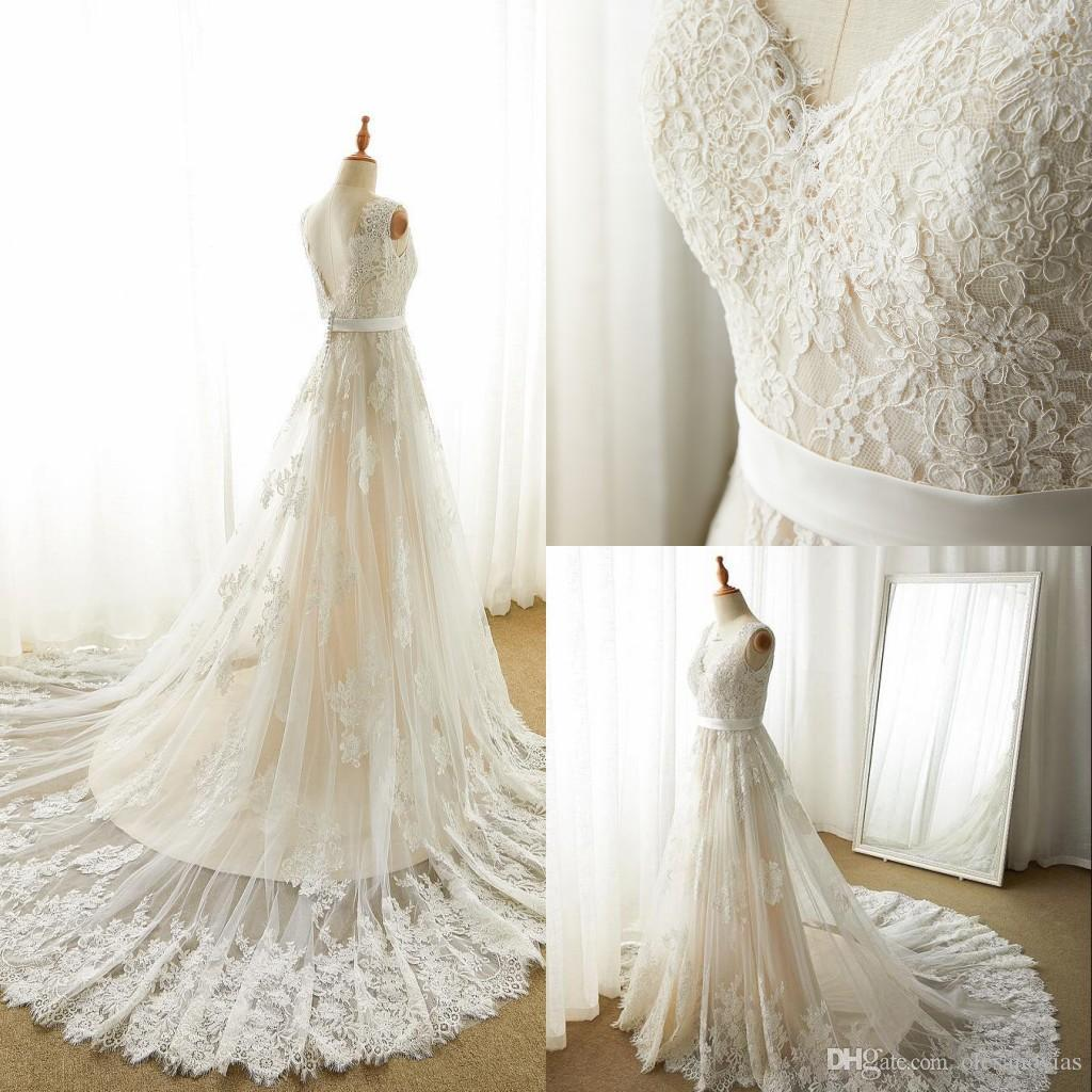 6762bab91b2297 Impressive A-Line V-Neck Natural Court Train Tulle Lace And Satin  Sleeveless Zipper With Buttons Wedding Dress with Appliques 2018 Wedding  Dresses Lace .