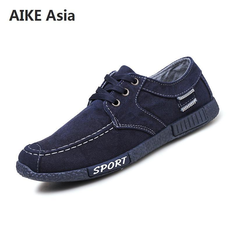 Oxfords Aike Asia New Fashion Trend Mens Brand Casual Shoes Low To Help High-end Canvas Shoes Mens Apartment Large Size Fashion Shoes Shoes