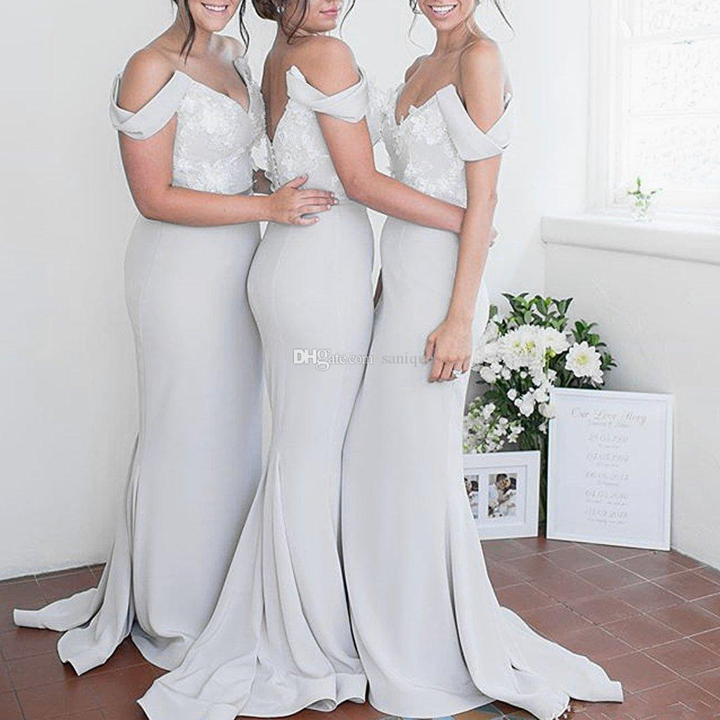 fea75fd4c2e 2019 Gorgeous Mermaid Bridesmaid Dresses V Neck Off The Shoulder Appliques  Lace Satin Backless Bridesmaid Gowns Party Dresses Sweep Train Beach  Bridesmaid ...