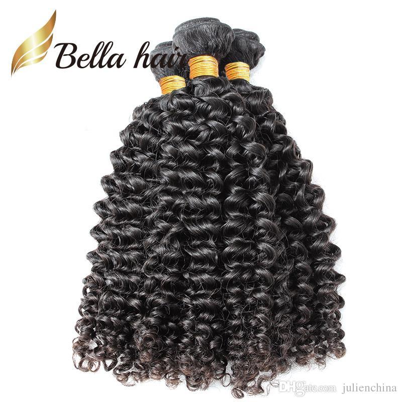 غير المجهزة اللون الطبيعي البرازيلي مجعد الشعر البشري 3 قطعة / الوحدة 10-24 بوصة لحمة جولينشينا بيلاهير
