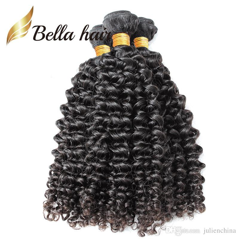 Naturfärg Peruvian buntar 3st / parti 10-24INCH Human Hair Extensions Obehandlad Curly Weft Bellahair