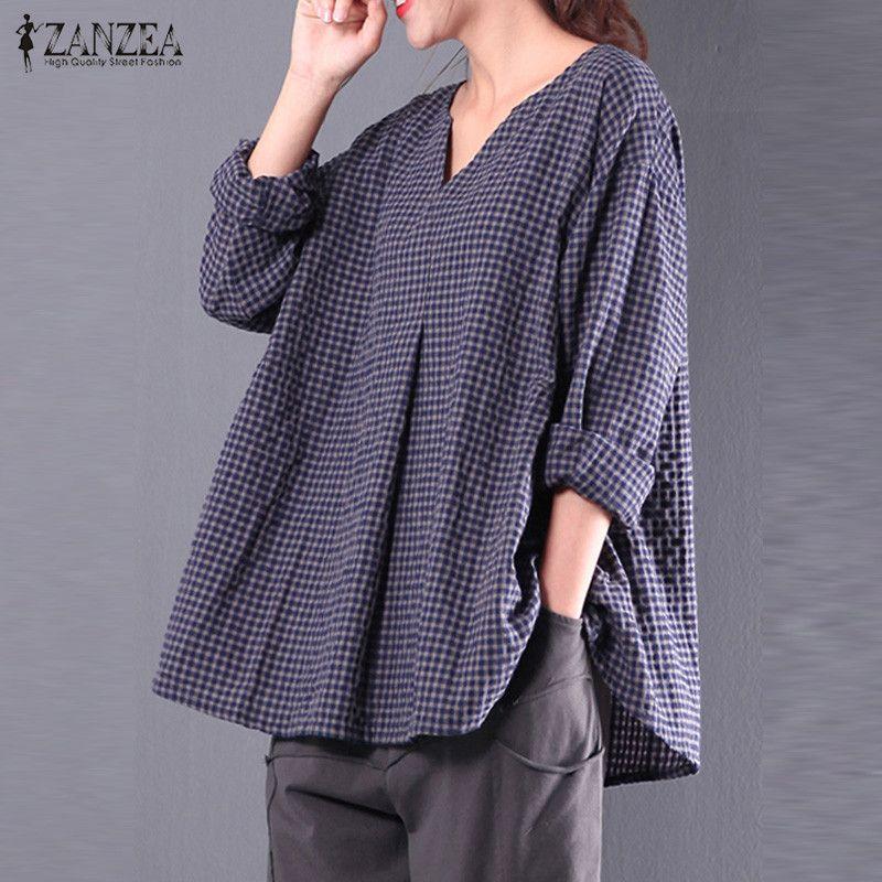 cba72c709351e 2019 2017 ZANZEA Women Autumn V Neck Long Sleeve Check Plaid Casual Cotton  Linen Blouse Retro Tartan Top Pullover Shirt Plus Size From Luweiha