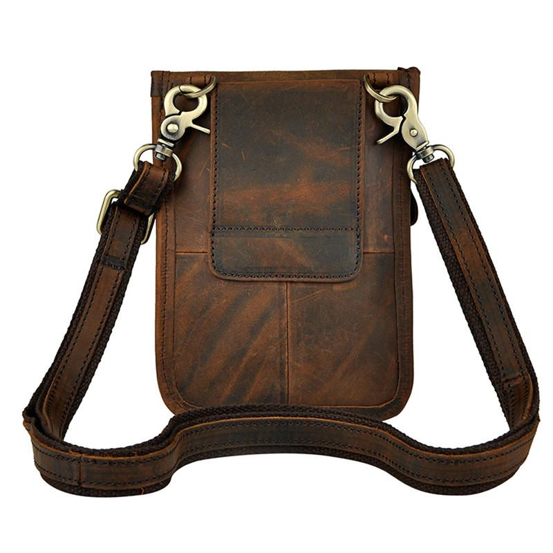 Thin simple Vintage Small Shoulder Messenger 7 inch Crazy horse leather Men Belt Waist Bags/wallet For Iphone