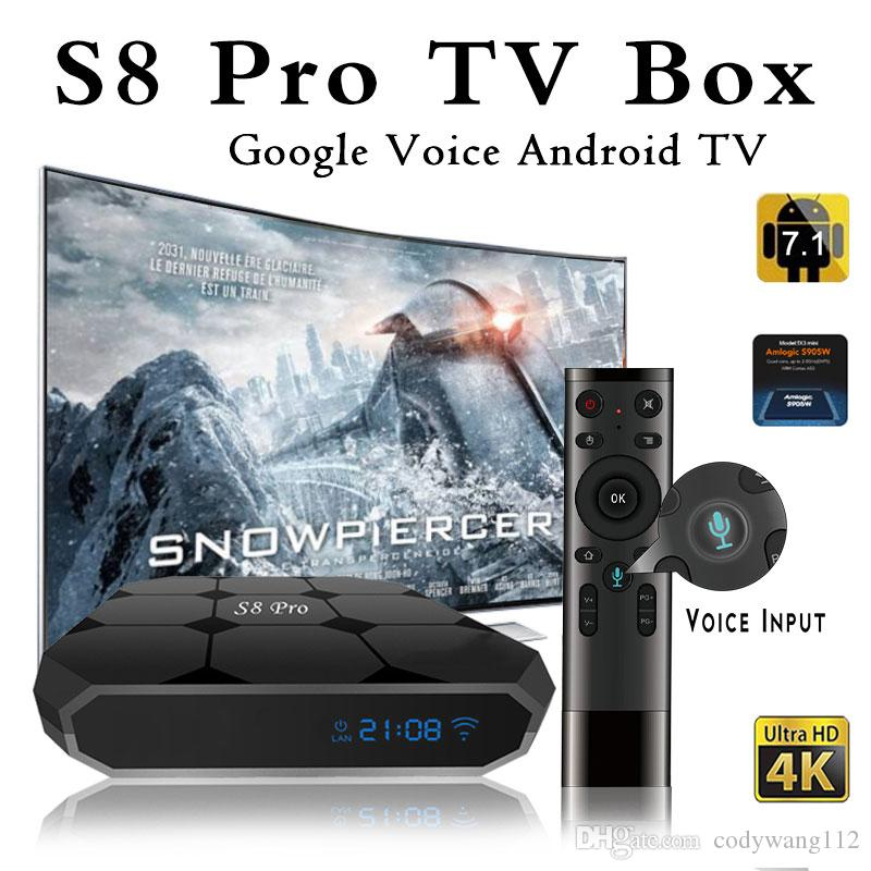 Original S8 PRO Google Voice Control Android 7.1 TV Box 2018 New Arrivals S905W Smart TV Streaming Box System
