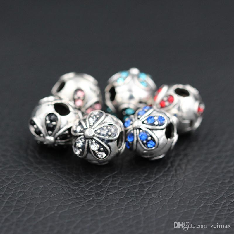 Safety Beads Clips Locks Stopper Small Five-leaf Heart Flower Charms European DIY Beads Fit Pandora Charms Bracelets