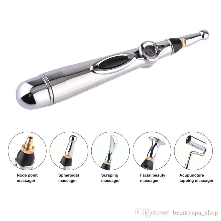Hot sale body relaxing circulation meridian energy electric acupuncture pen therapy electronic body muscle massage pen 5 tips