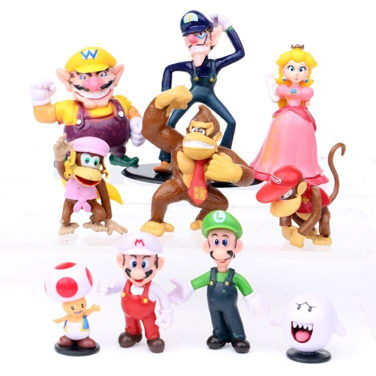 Cartoon jeu Super Mario bros frères yoshi luigi Wario figurines pêche figurines poupées modèles enfants Ensemble de jeu gâteau cadeau Toy Topper