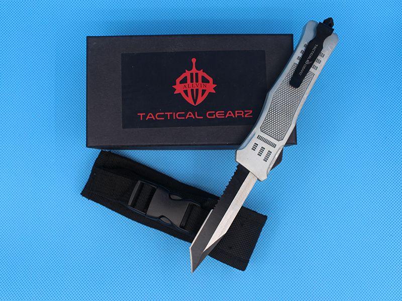 Allvin Silver 8.2 Inch Medium 616 Auto Tactical Knife 440C Single Edge Tanto Half Serration Black Blade EDC Pocket Knives