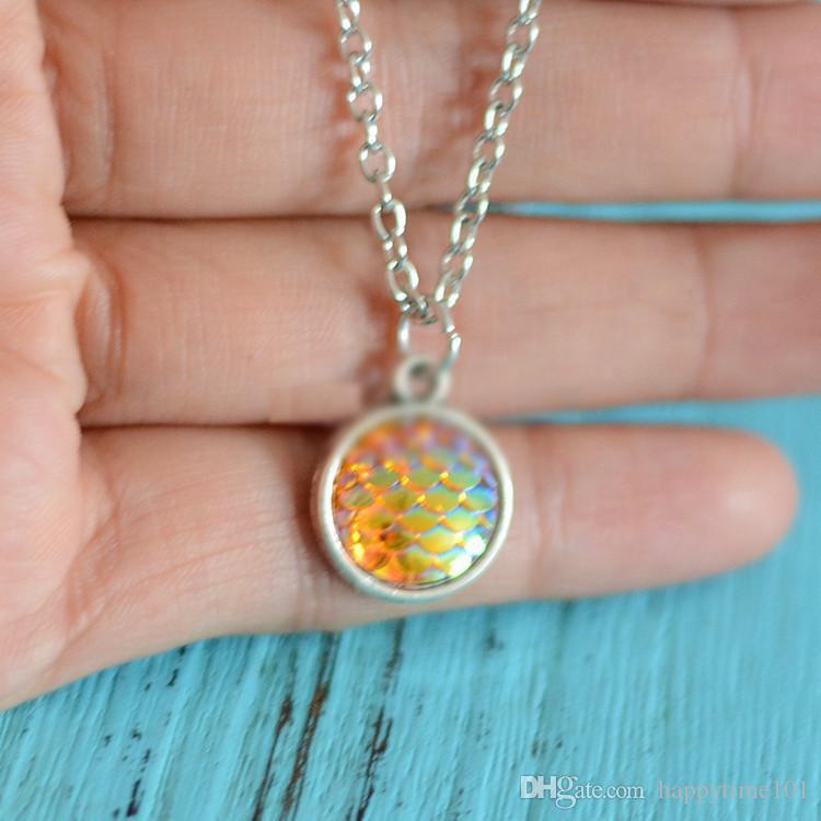 Moda es Sirena Escala Resina Encanto Collares pendientes Escala de pescado Cadenas de acero inoxidable Collar Para Las Mujeres Señoras Accesorios de la joyería