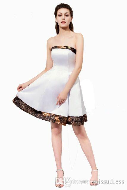 Camo Bridesmaid Dresses Strapless Knee Length A Line Short Camouflage  Wedding Party Dresses Maid Of Honor Gowns Junior Prom Dresses Classy  Bridesmaid ... 7b0cb937180c