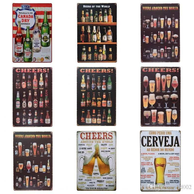 2018 Beer Cup Cheer Design Tin Poster Retro Style Tins Sign Wine Bottle Iron Painting For Bar And Night Club Exaggerated Atmosphere 2030cm Z From Sd002
