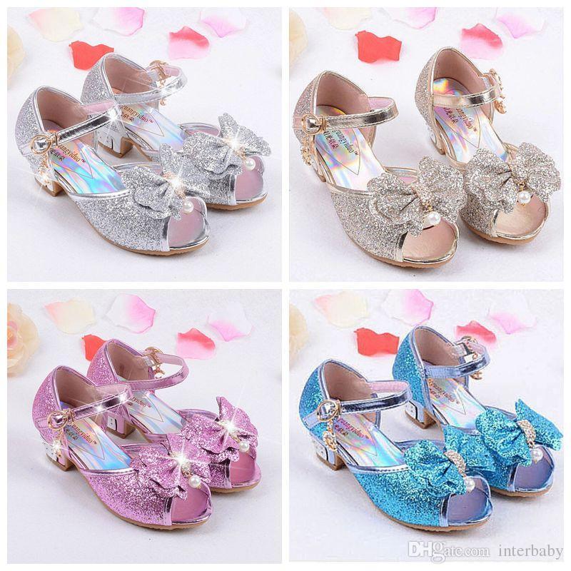 12928e9323 Children Princess Sandals Kids Girls Bowknot Shoes Glitter High Heels Shoes  Summer Party Shoes Bowtie Fish Mouth Kids Sandals YFA47