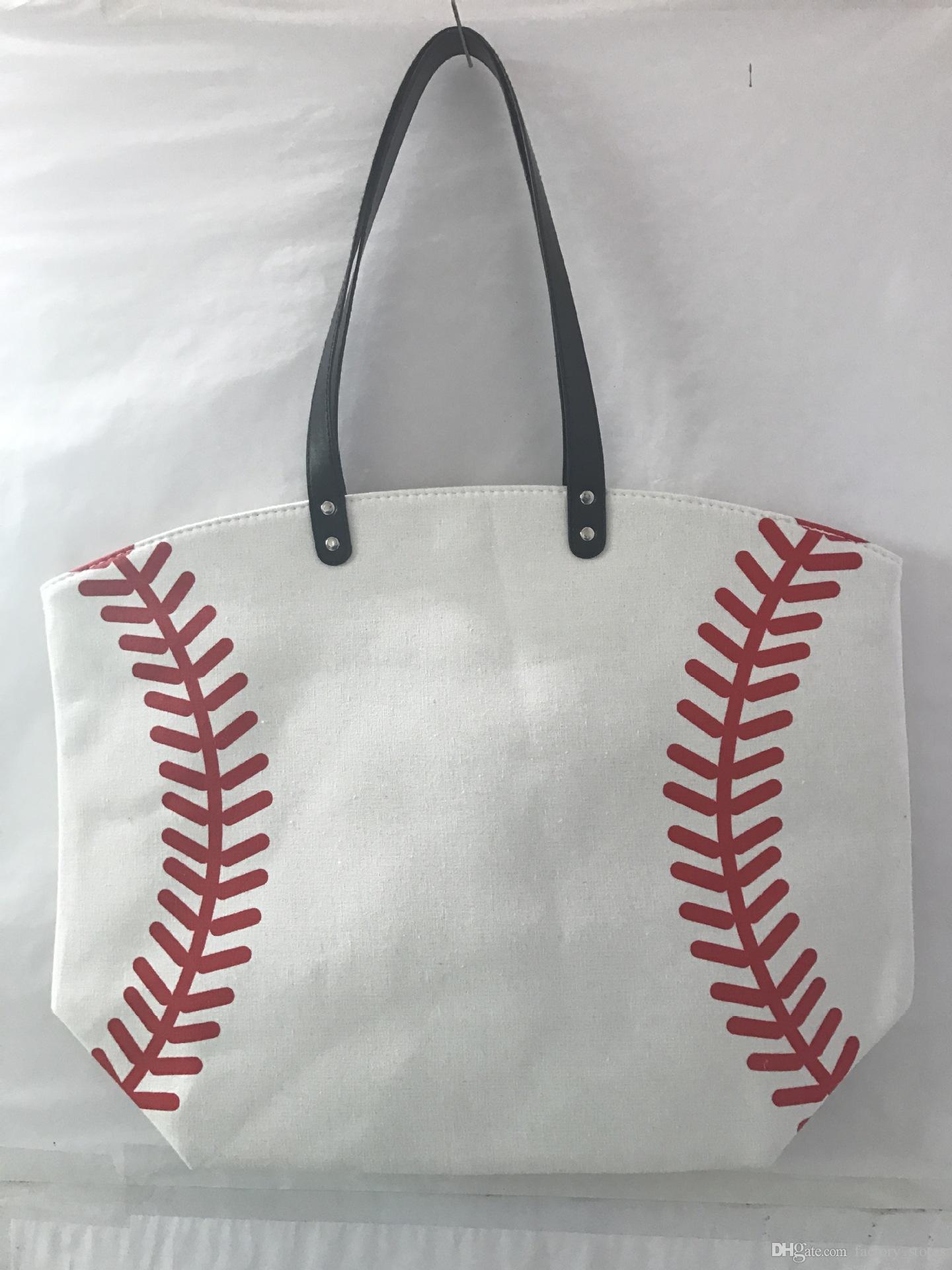 Borsa a tracolla sportiva di tela portatile Tote Basketball Baseball Softball Soccer Print Casual Borsa a mano di grande capacità Beach Hand Bags A22803