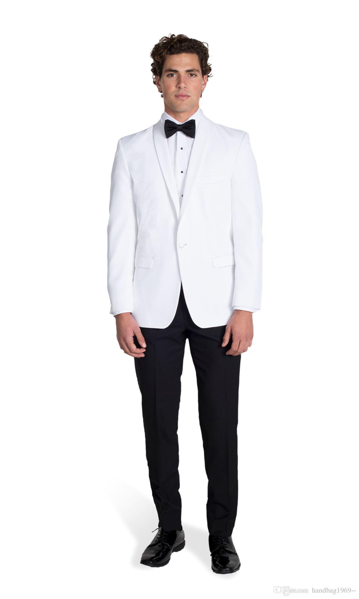 Neuheiten One Button Weiß Bräutigam Smoking Schal Revers Groomsmen Best Man Blazer Mens Hochzeitsanzüge Jacke + Pants + Tie D: 355