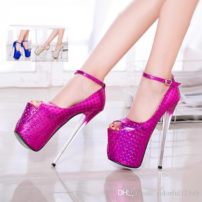 197ab5d92b1 Glitter Fuchsia Ankle Strap Peep Toe Platform Pumps High Heels Party Prom  Shoes Big Size 35 To 40 Fashion Shoes Cheap Shoes For Men From  Colorful12345