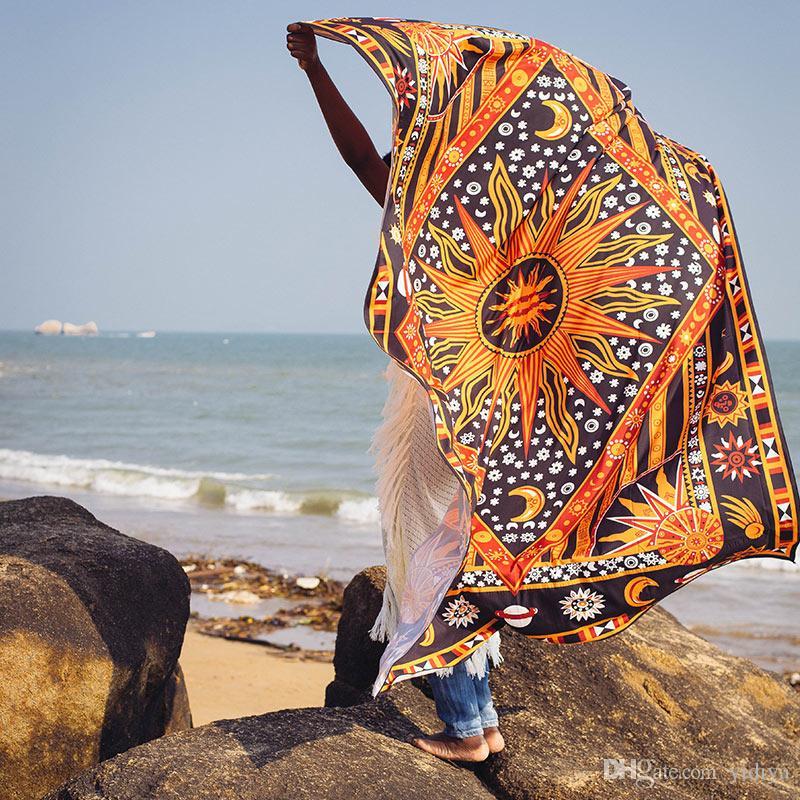 2018 Tapis mural Soleil brûlant pourpre Soleil céleste Lune Planète imprimée sur tapis Mandala Hippie Bohème Serviette de plage