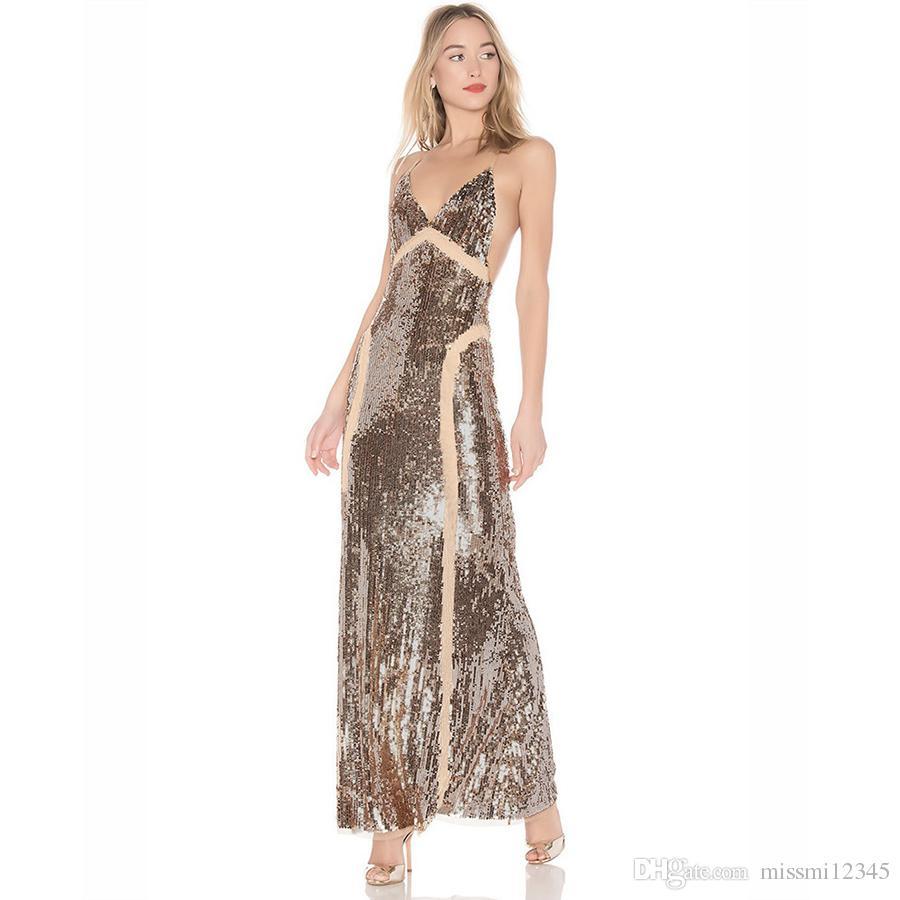 Summer 2018 Sexy Sequins Prom Dresses Long Deep V-neck Sleeveless ... 3f7558d6b465