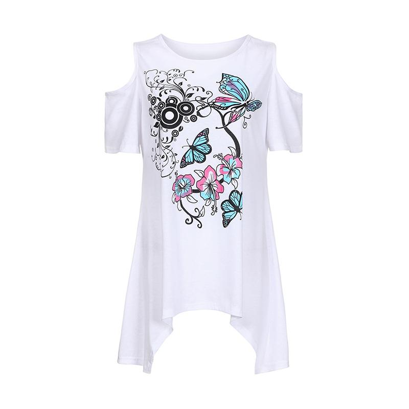 a71e083a9db5b Butterfly Print Women T Shirts Cold Shoulder Sexy O Neck 2019 Summer Loose  Casual Tee Top Feminino Shirts Tops WS9642Y Online with  38.75 Piece on ...