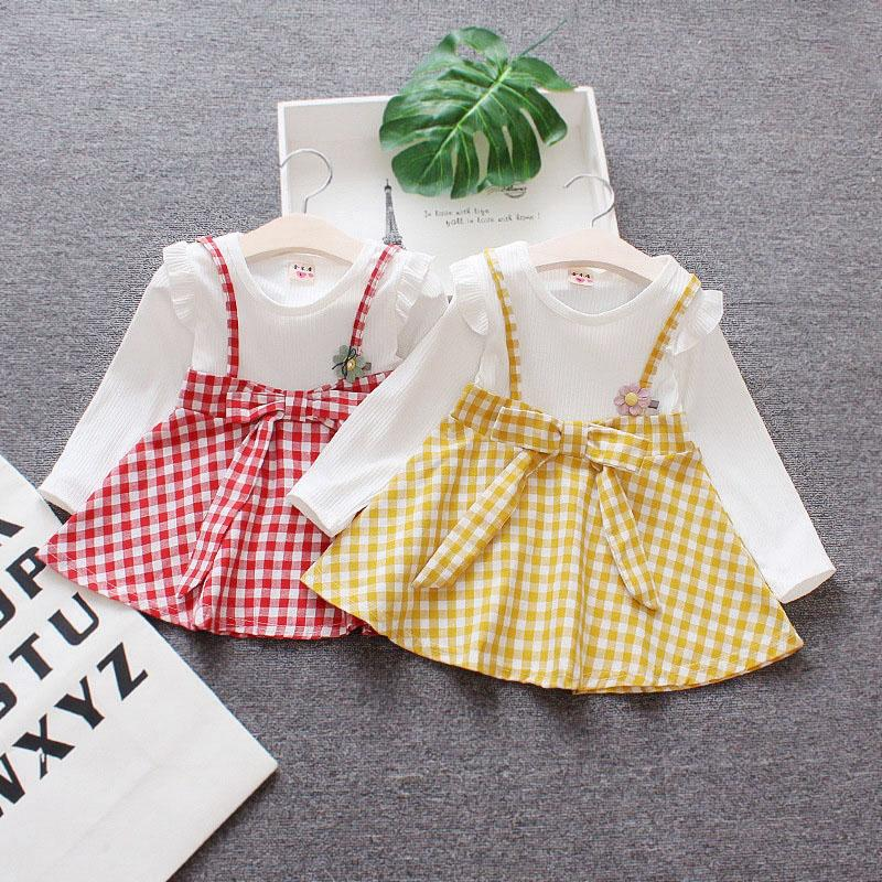 7494f39a24b7d infant dress toddler kids children cute newborn baby girl clothes red white  plaid bow school outfit 6 12 24 36 months 1 2 year