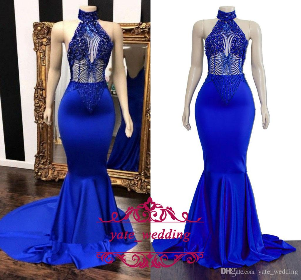 e720fa8420e8 Sexy Royal Blue Mermaid Prom Dresses High Neck Halter Beaded Appliques  Satin Backless African Sexy Evening Party Dresses Sweep Train Merle Norman  Prom ...