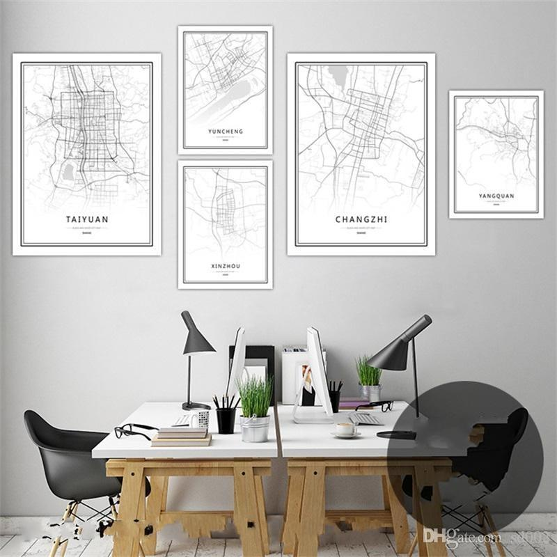 Black And White World Map Framed.2019 Digital Printing Wall Art Pictures World City Map Paintings