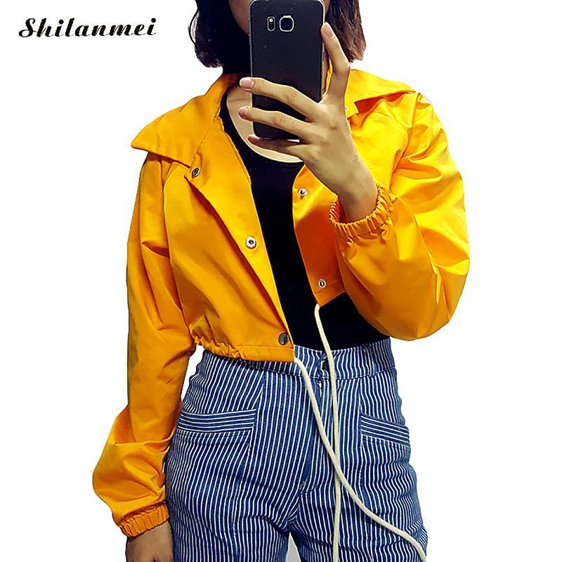 2017 Yellow Jacket Women Winter Coat Drawstring Lace Up Crop Top