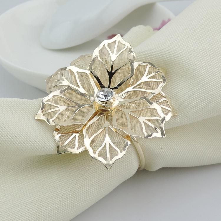 Cheap Wedding Napkin.Gold Metal Flower Rhinestone Napkin Ring Serviette Holder Napkin Buckles For Wedding Banquet Dinner Decor Table Accessories Aaa778