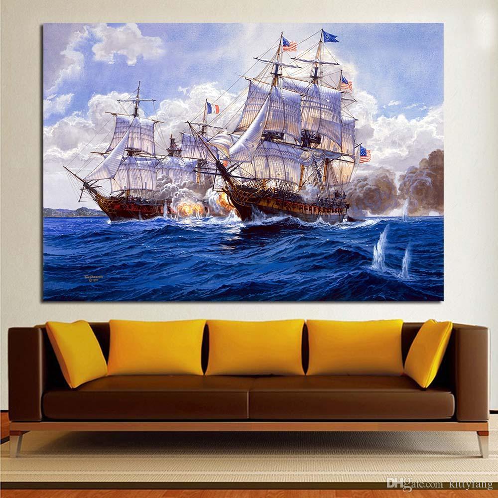 715fef028f Compre 1 Painel De Batalha Navios Pintura Marinha Armas Da Marinha Navio  Militar Home Decor Wall Art Pintura Pintura De Parede Imagem Moderna Sem  Moldura De ...