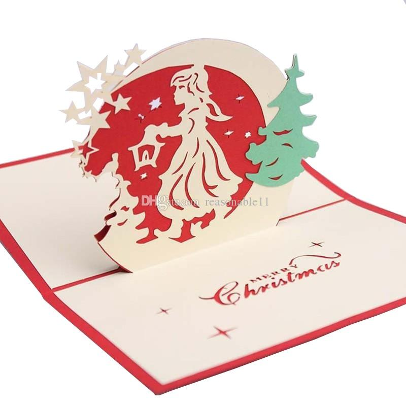 3D Christmas Card Postcards Pop Up Greeting Cards Christmas Bell ...
