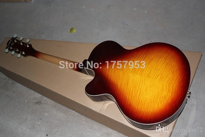 2015 china factory custom Top Quality New Custom Tiger maple Sunburst Semi Hollow L-5 Jazz electric guitar 51