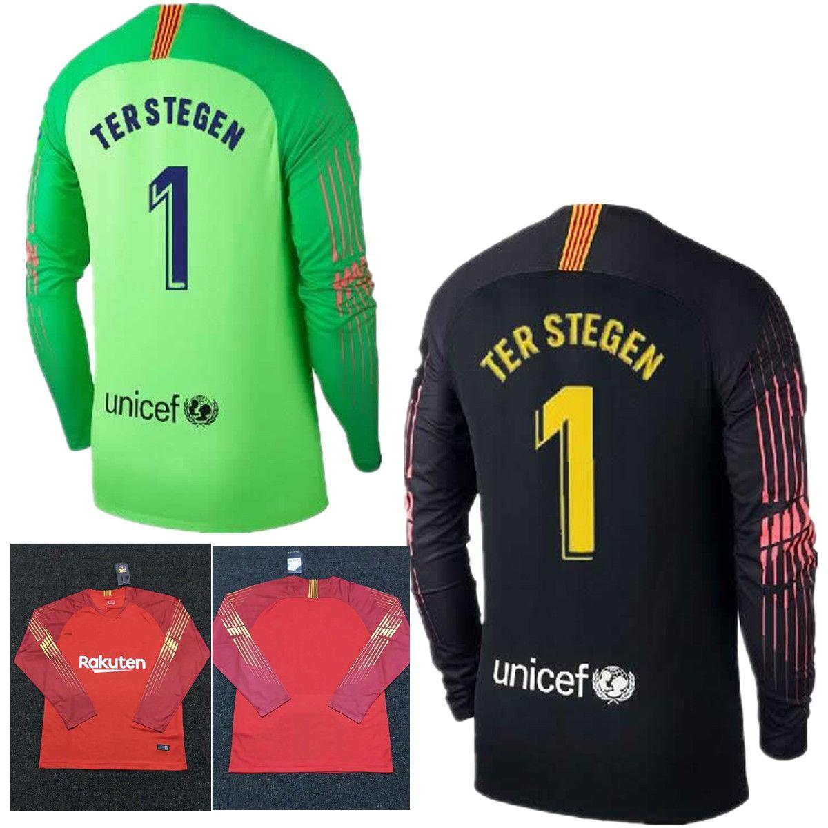 2018 2019 Adultos Camiseta De Fútbol De Manga Larga Ter Stegen Goalkeeper  Jersey   1 Marc Andre Ter Stegen Camiseta De Portero Black Orange Camisetas  De ... a209675d89e