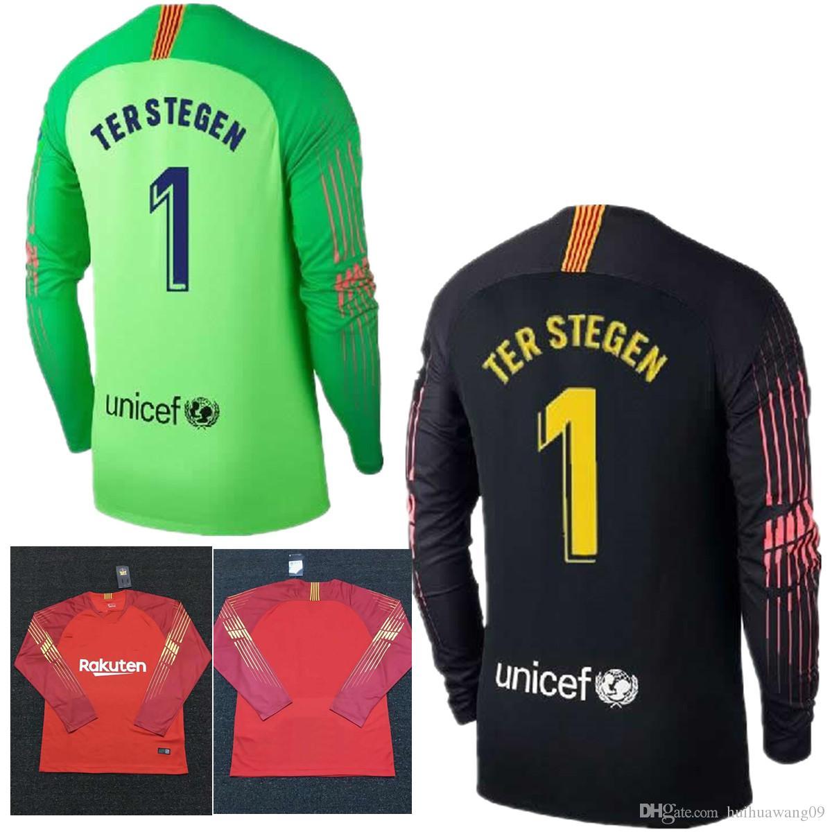 2019 2018 2019 Adults Long Sleeve Ter Stegen Goalkeeper Jersey Soccer  Jerseys  1 Marc Andre Ter Stegen Goalie Jersey Black Orange Football Shirts  From ... f803cc052