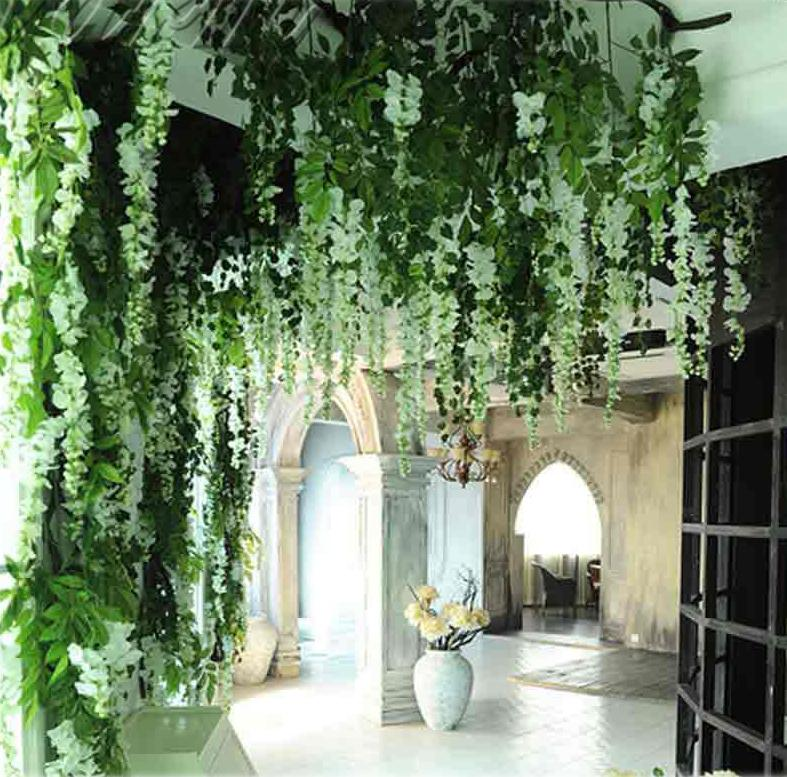 Wholesale Romantic Silk Wisteria Artificial Hanging Flowers Hanging