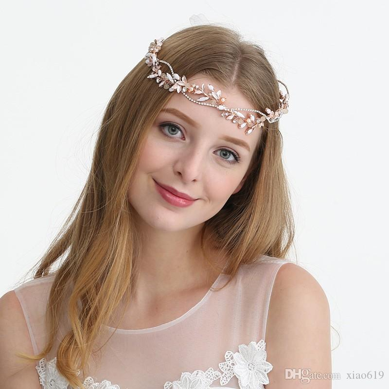 2019 Rose Gold Leaf Headpiece Charming Wedding Headband Tiara Bridal Hair Vine Accessories Handmade Women Hair Jewelry