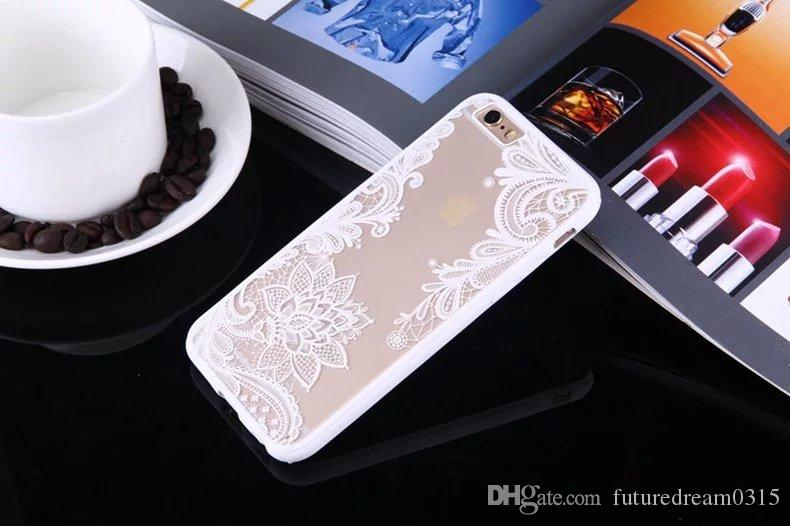 For iPhone 6 6S Plus 7 8 Plus X Phone Cases & Bag Lace Datura Flowers Shell Coque Soft TPU Phone Back Cover YC2323