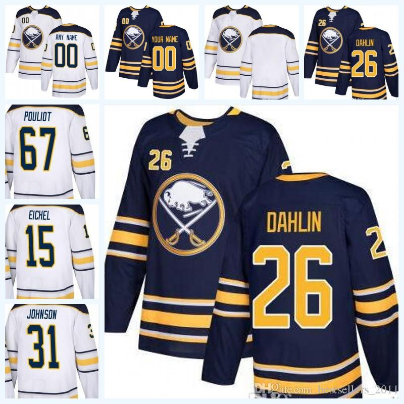 2019 2018 Cheap Wholesale Newest Buffalo Sabres 26 Rasmus Dahlin Draft  First Round Pick Blank Hockey Jersey White Navy Blue From Bestsellers 2011 06a5370a5