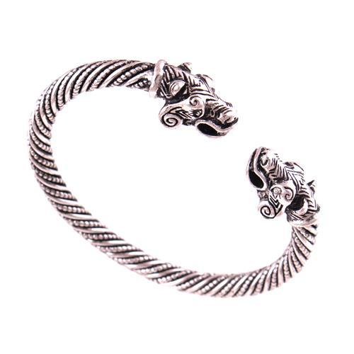 VB300029 Antik Gümüş Viking Ayı Bilezik Iki Başlı Ayı Erkekler Bilezik Bileklik Moda Takı